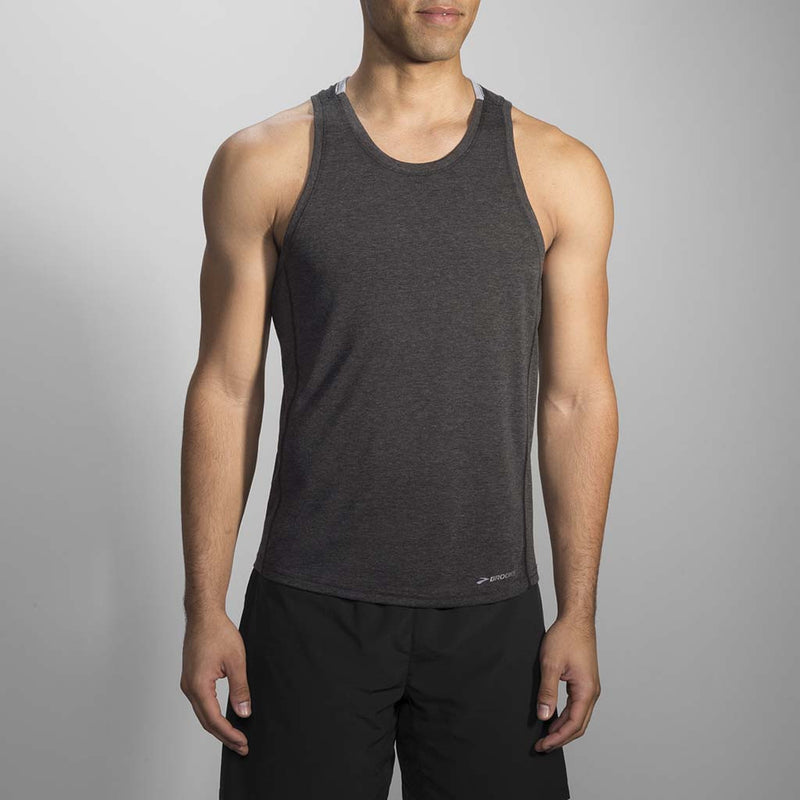 Brooks Distance men's running tank heather sterling Soccer Sport Fitness
