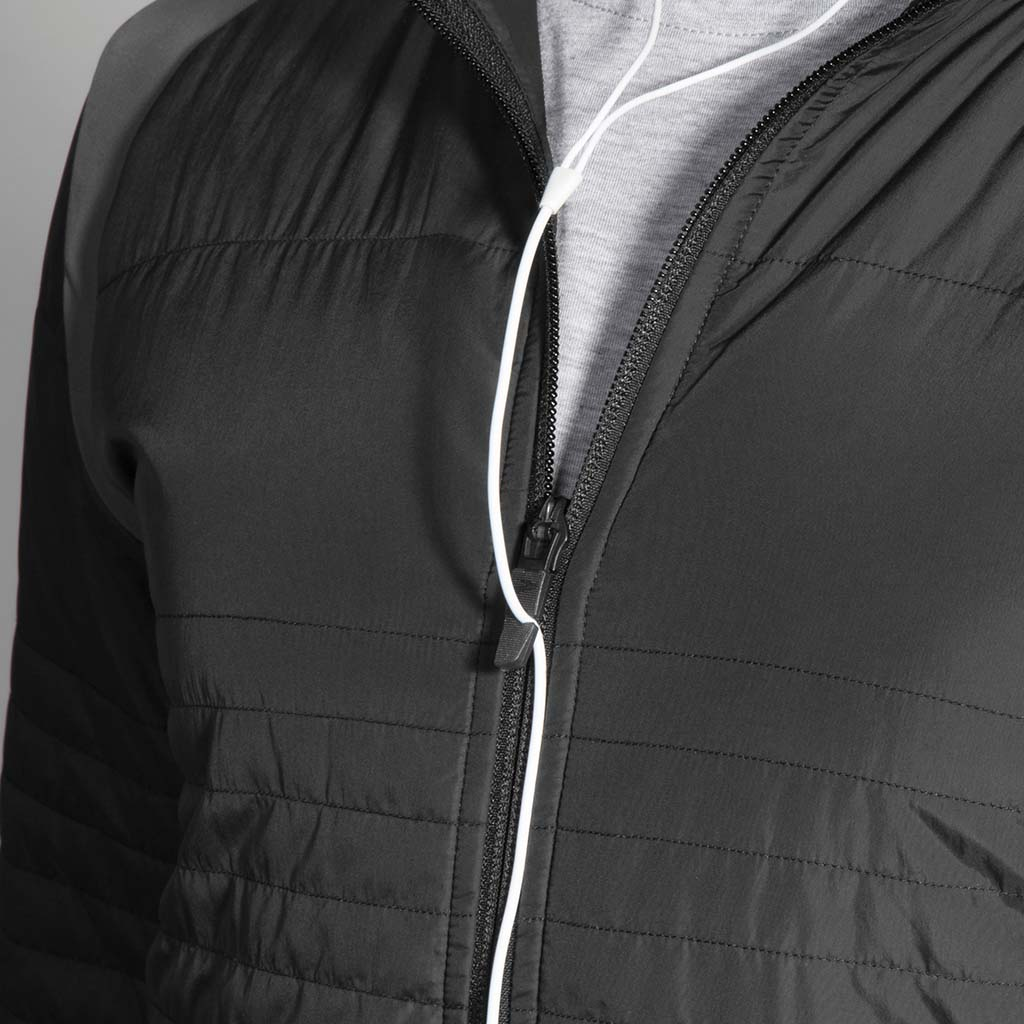Manteau de course à pied Brooks Cascadia Thermal pour homme noir closeup zip Soccer Sport Fitness
