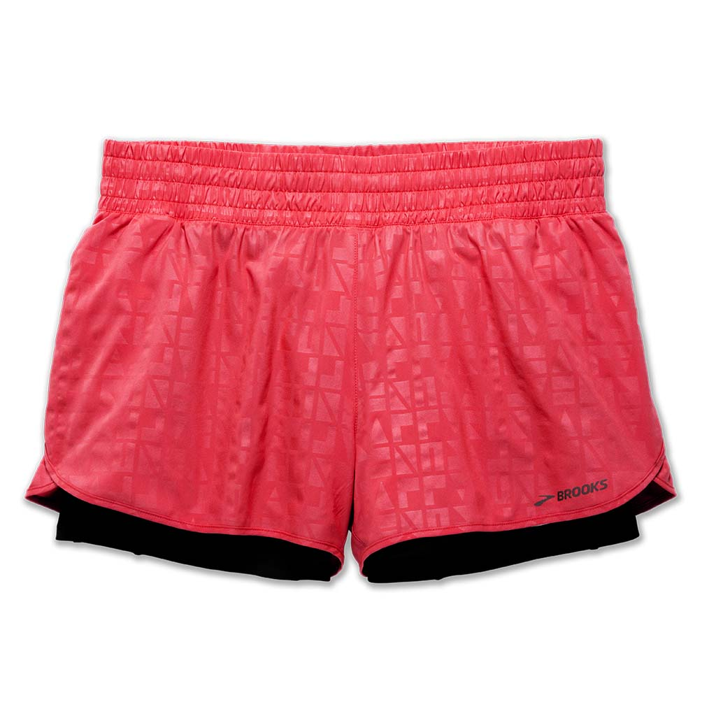 "Brooks Circuit 3"" 2 in 1 short de course à pied rose pour femme"