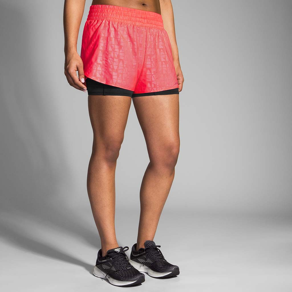 "Brooks Circuit 3"" 2 in 1 short de course à pied rose pour femme lv"