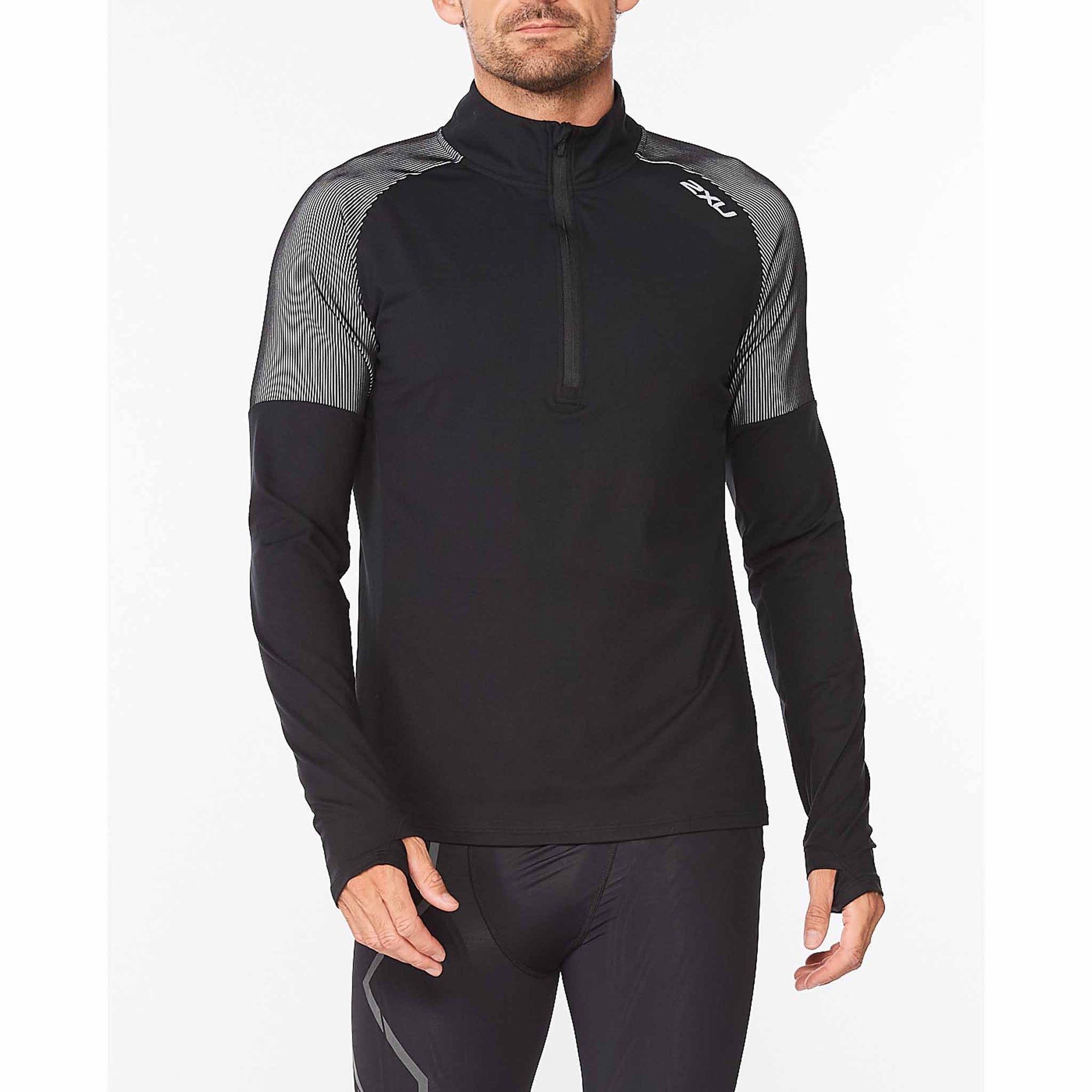 2XU Chandail manches longues Light Speed 1/2 Zip pour homme Black