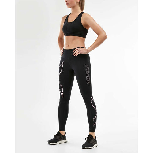 2XU womens compression tights mid-rise balck blossom