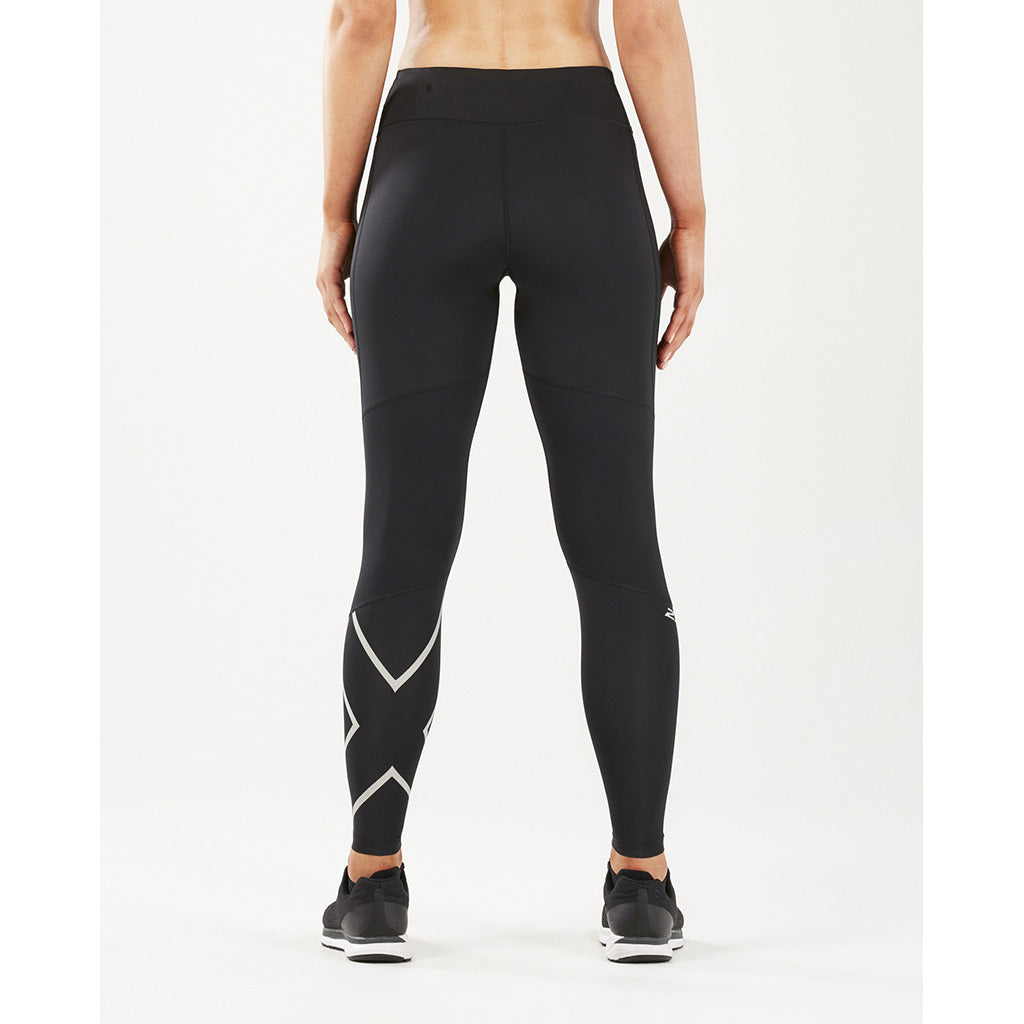 2XU Run Mid Rise Comp Tights silver reflective rv1