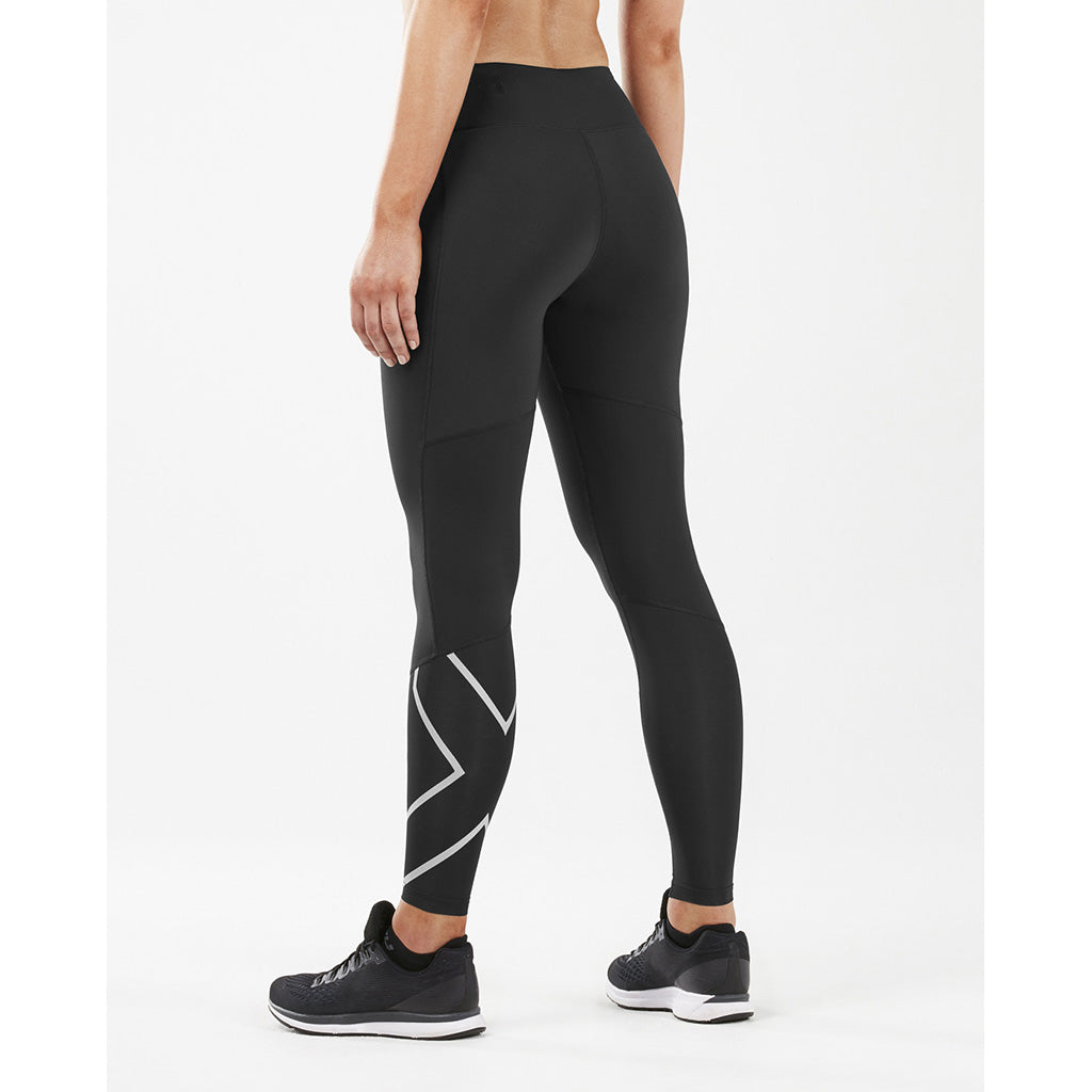 2XU Run Mid Rise Comp Tights silver reflective rv3