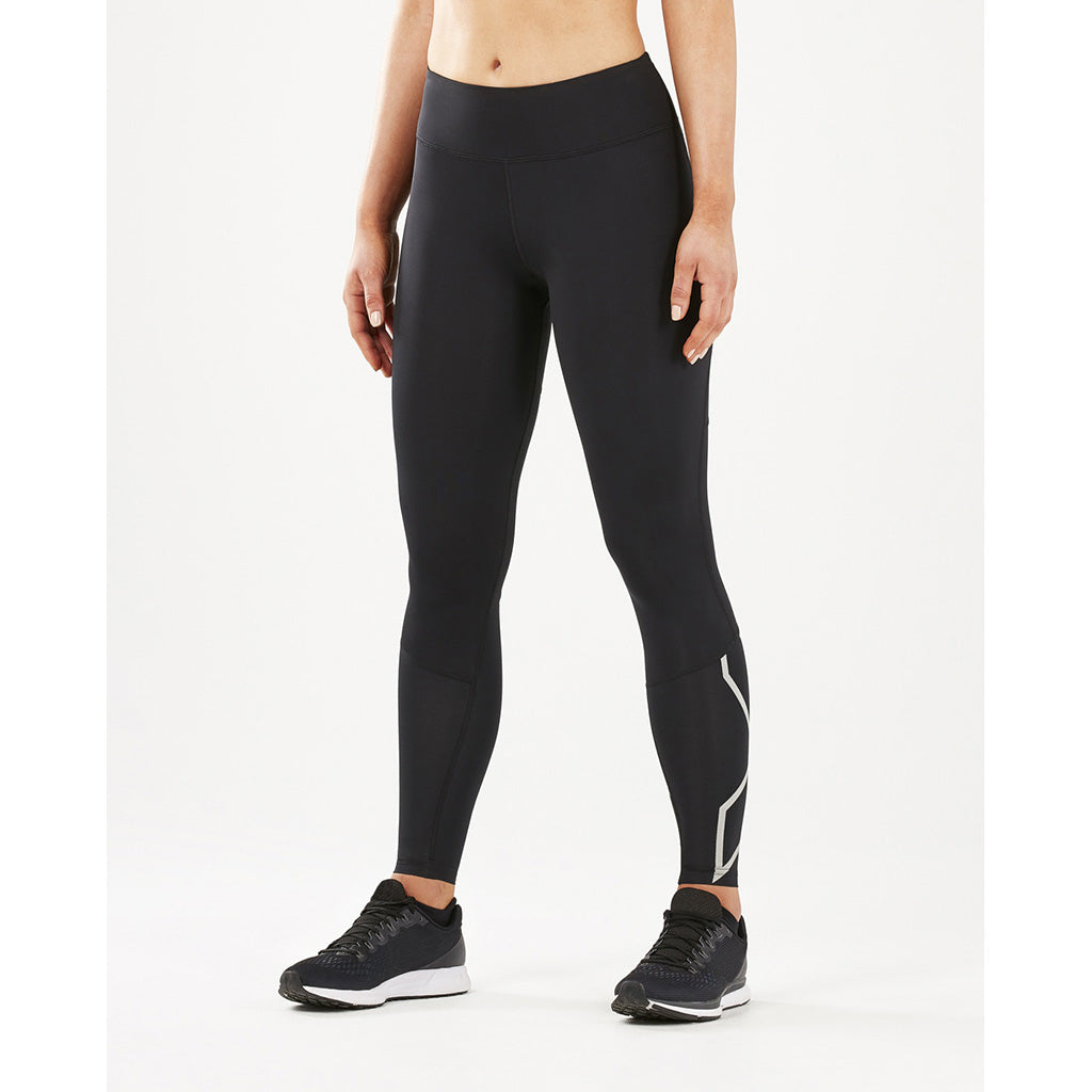 2XU Run Mid Rise Comp Tights silver reflective lv3