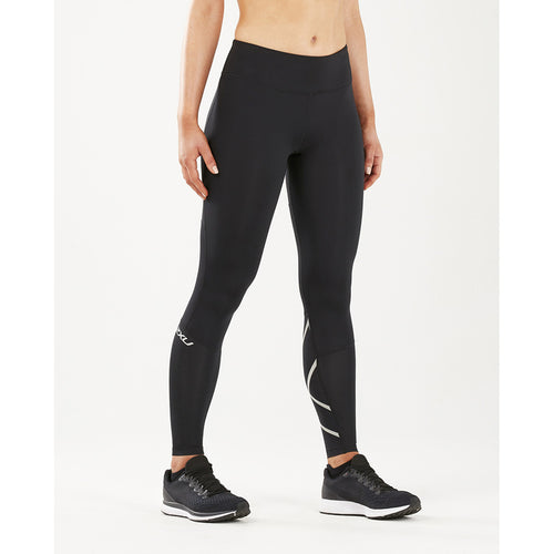 2XU Run Mid Rise Comp Tights silver reflective lv4