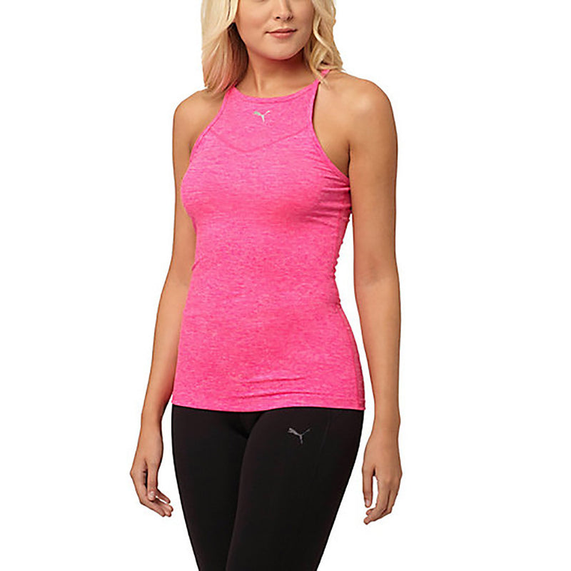 Camisole sport femme PUMA Yogini Long and Lean women's sport tank top rose vue face Soccer Sport Fitness