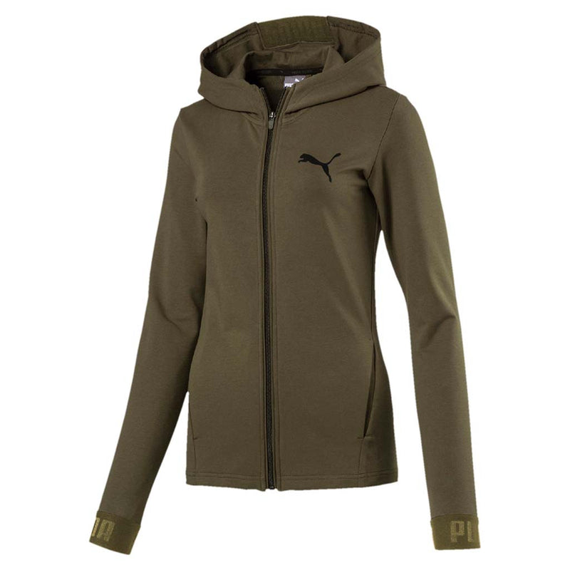 Chandail kangourou femme Puma Active Urban Sport à zip olive night mode 1 Soccer Sport Fitness