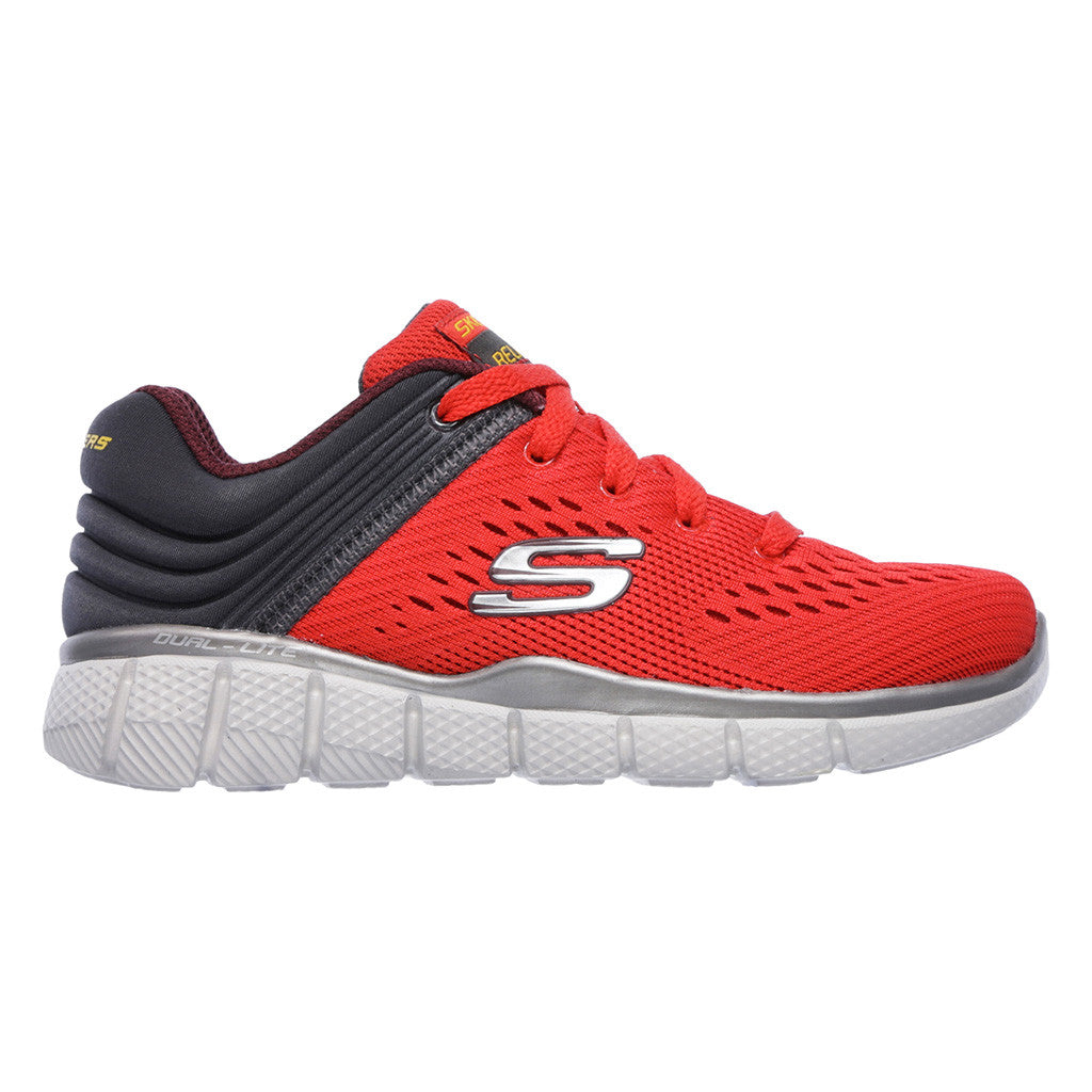 Soulier de course à pied enfant junior Skechers Equalizer 2.0 rouge vue laterale