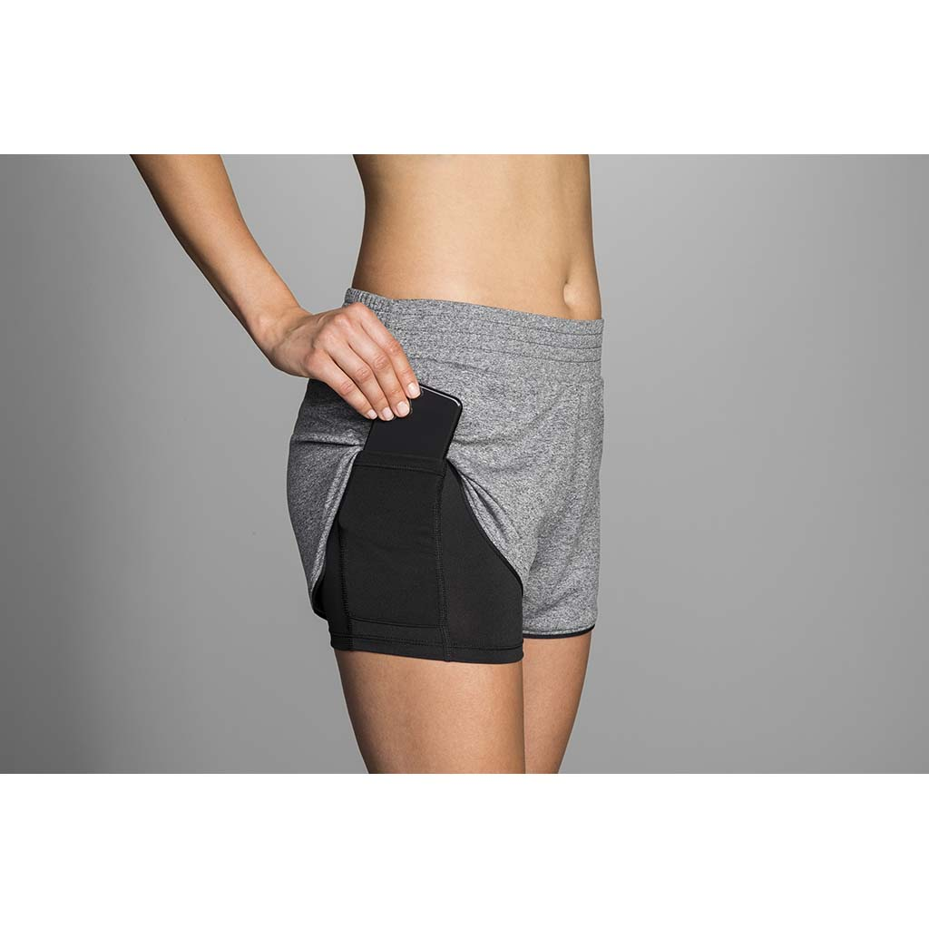 "Brooks Rep 3"" 2 in 1 short de course à pied asphalte chiné pour femme lv1"
