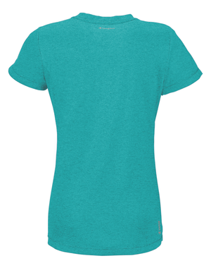T-Shirt sport femme Champion Power Train Heather turquoise vue dos