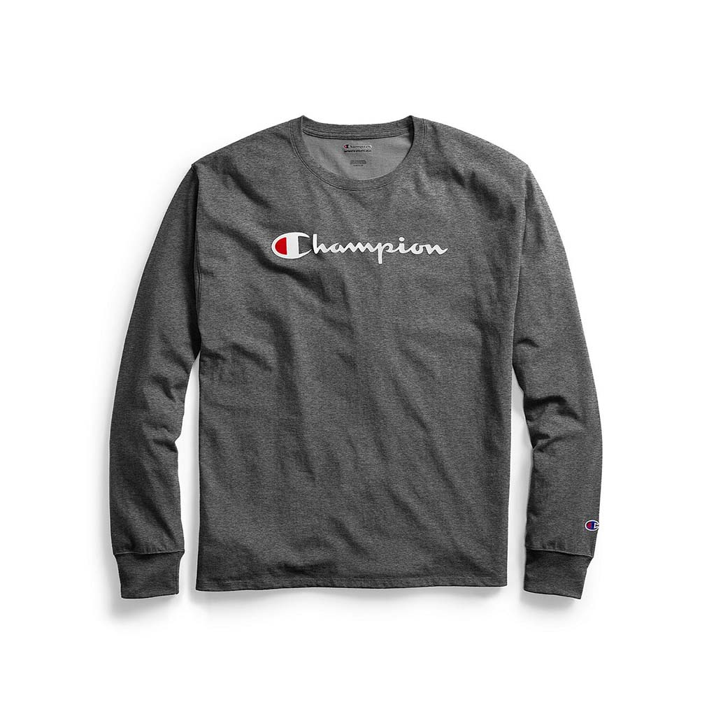 Champion Classic Jersey Graphic Logo t-shirt manches longues pour homme granite heather