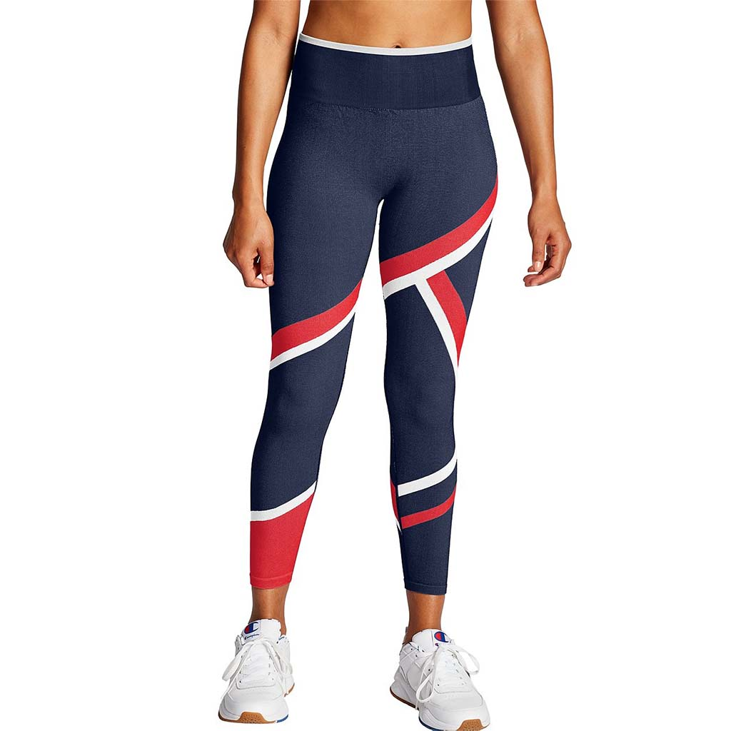 Champion Infinity Asymmetrical Tight women's leggings navy red lv1