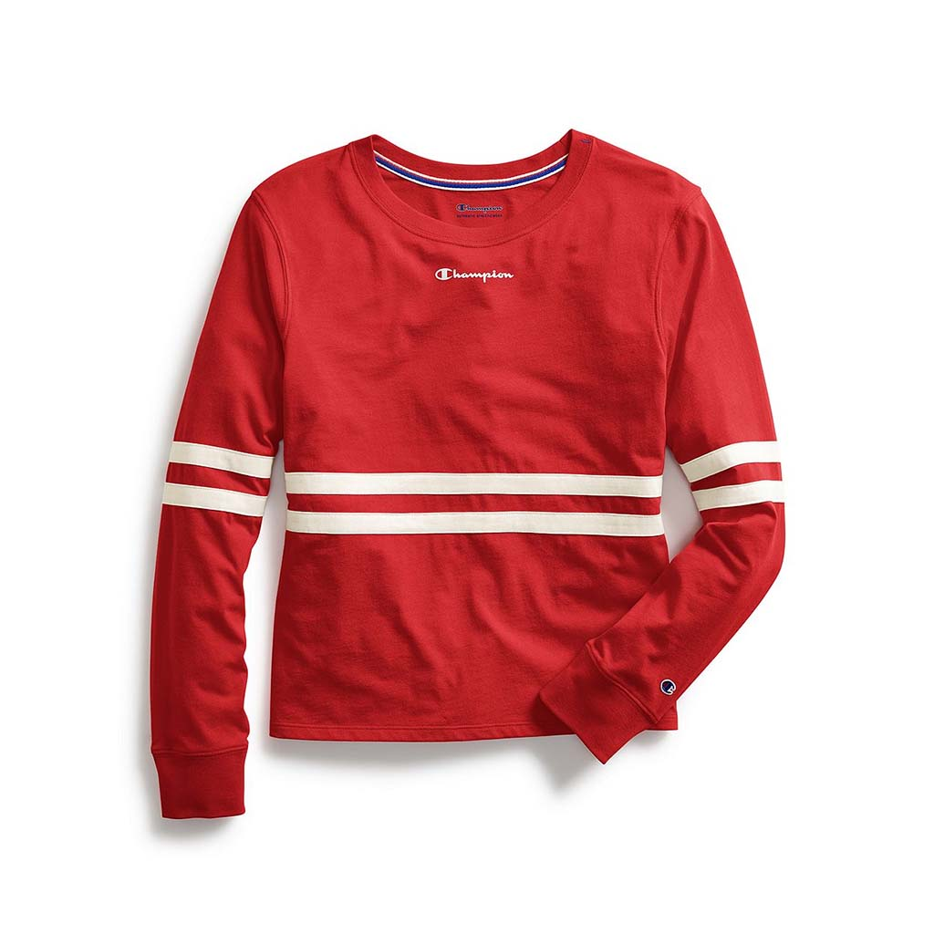 Champion Women's Heritage Long-Sleeve Tee Script Logo scarlet red
