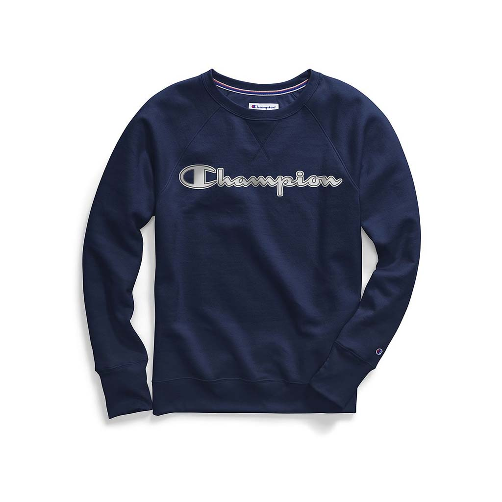 Champion Women's Powerblend® Fleece Crew Chainstitch Logo navy