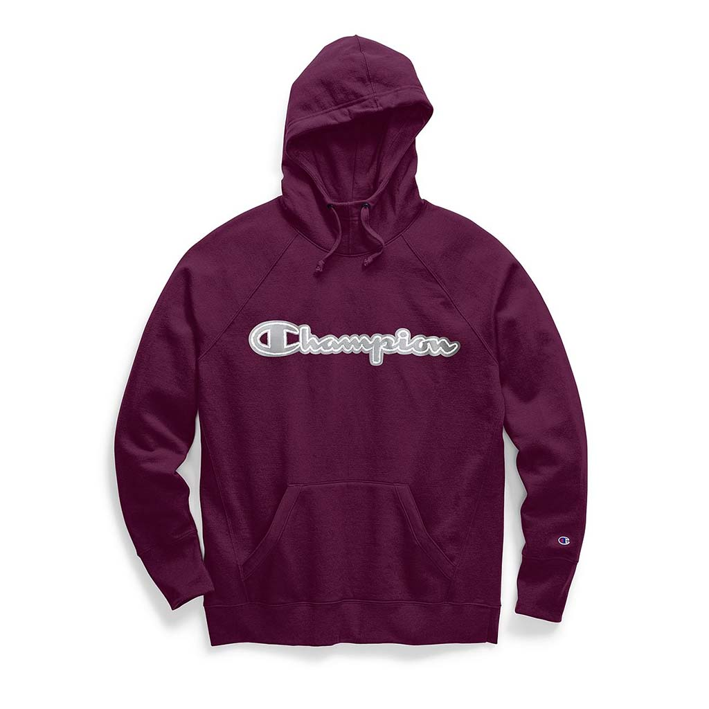 Champion Women's Powerblend® Fleece Pullover Hoodie Chainstitch Logo jade