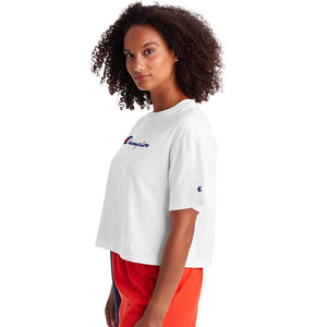 Champion Cropped Tee t-shirt blanc pour femme lat