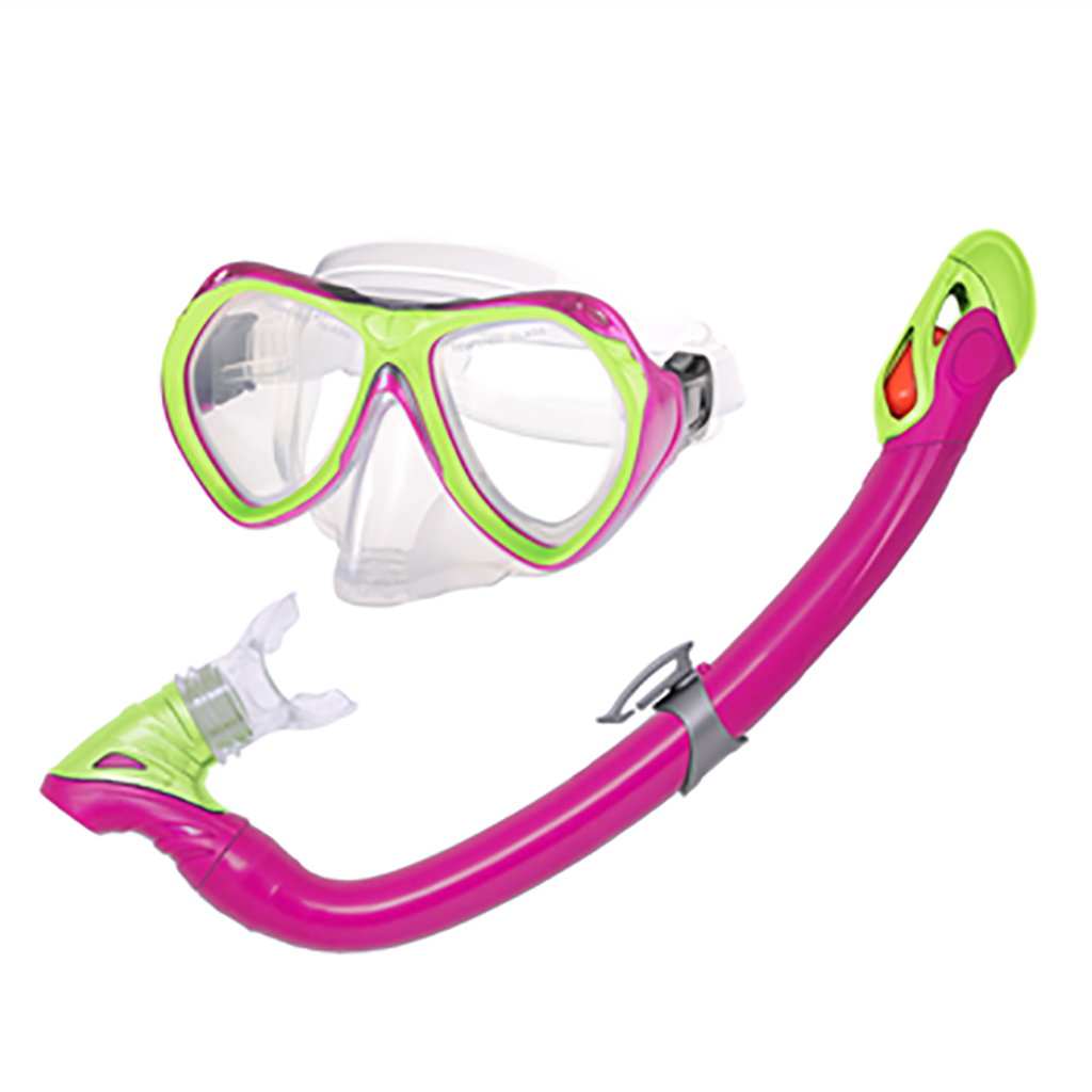 Ensemble de plongée enfant Leader Curacao kids snorkeling kit rose lime Soccer Sport Fitness