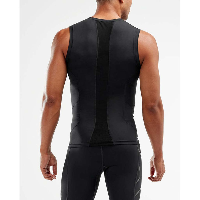 2XU men's compression sleeveless top black black rv2