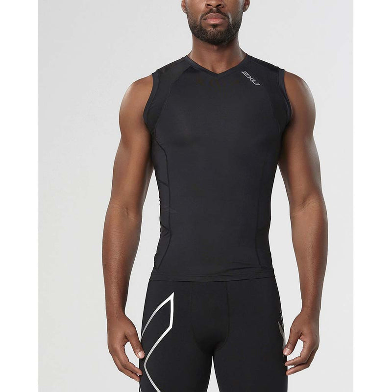 2XU men's compression sleeveless top black black fv