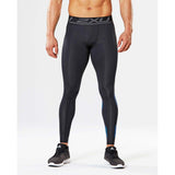 2XU Accelerate men's compression tights black arrow stripe