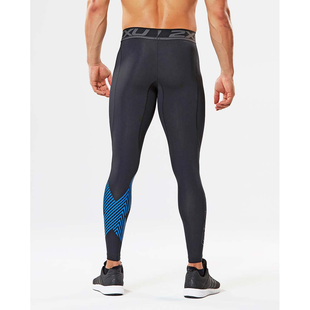 2XU Accelerate men's compression tights black arrow stripe rv