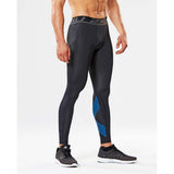 2XU Accelerate men's compression tights black arrow stripe lv
