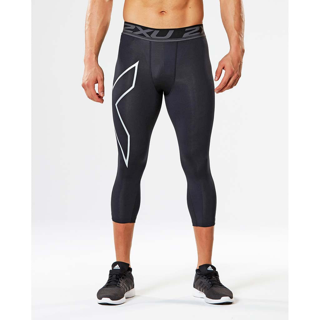 2XU Accelerate men's compression 3/4 tights black silver lv1