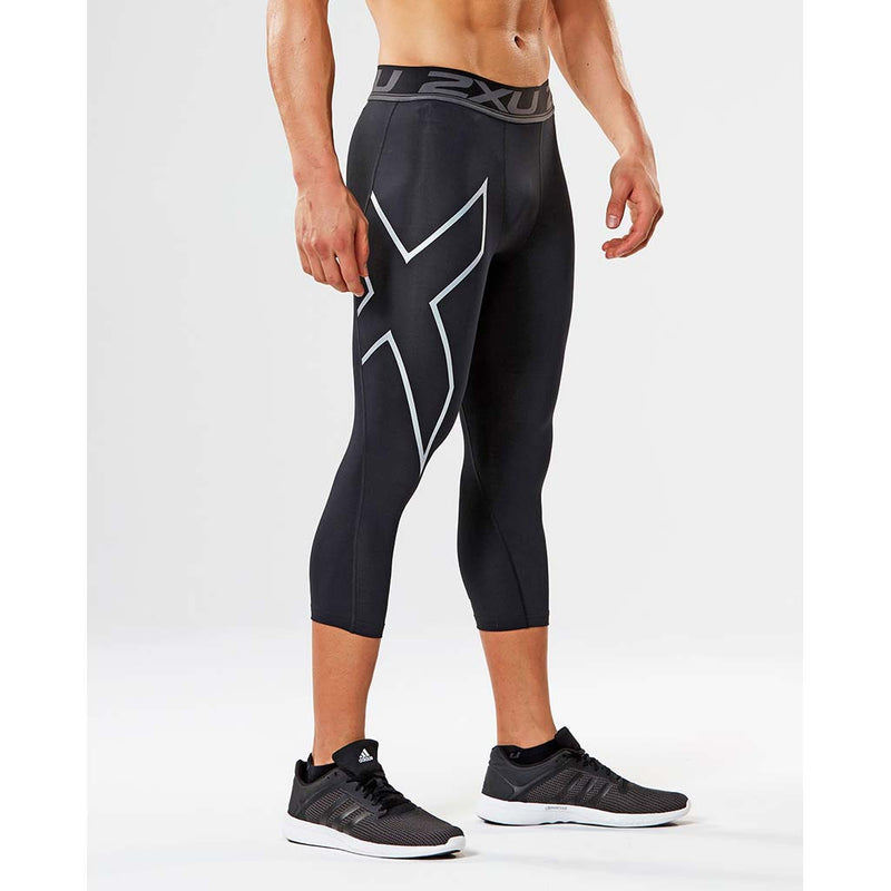 2XU Accelerate men's compression 3/4 tights black silver lv2