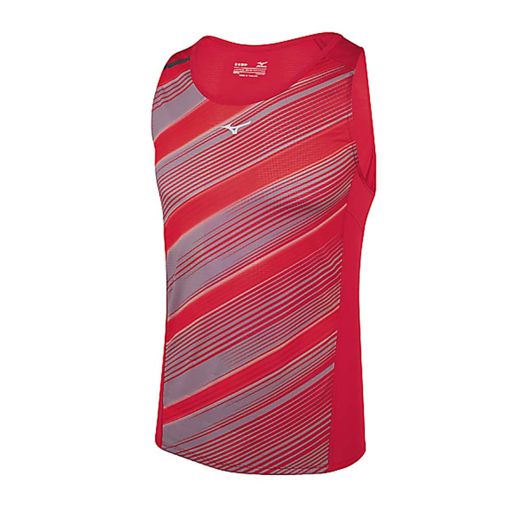 Mizuno Aero Singlet mens' sleeveless running shirt rouge Soccer Sport Fitness