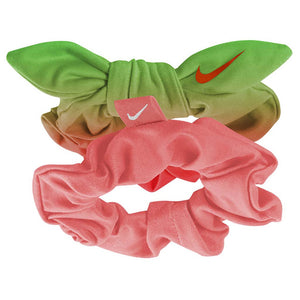 Attache pour cheveux NIKE gathered hair ties 2pk Mango / Green / Mango / White Soccer Sport Fitness