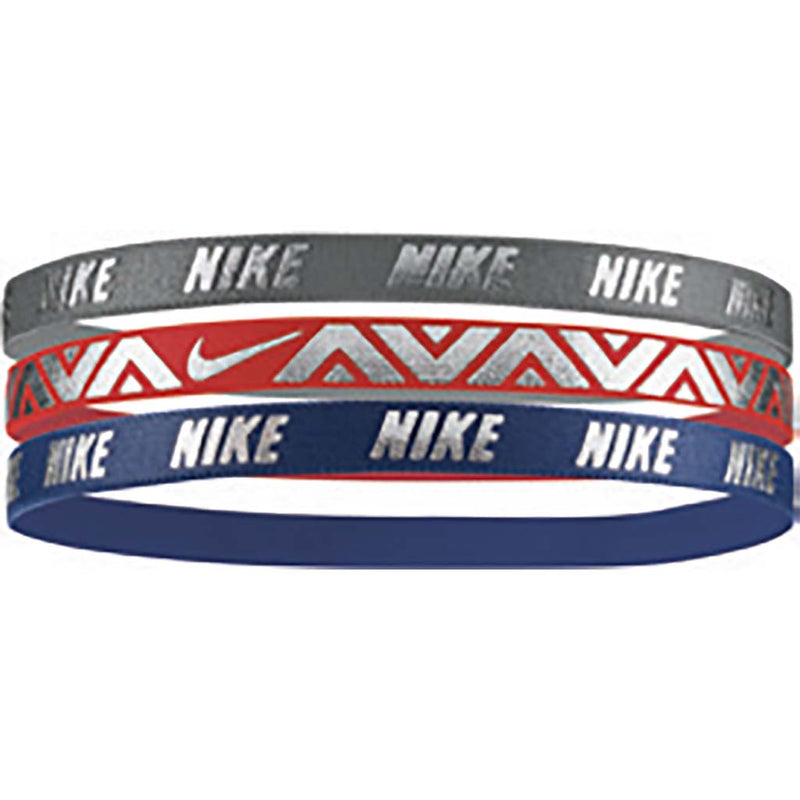NIKE metallic hairbands 3pk gris rouge marine
