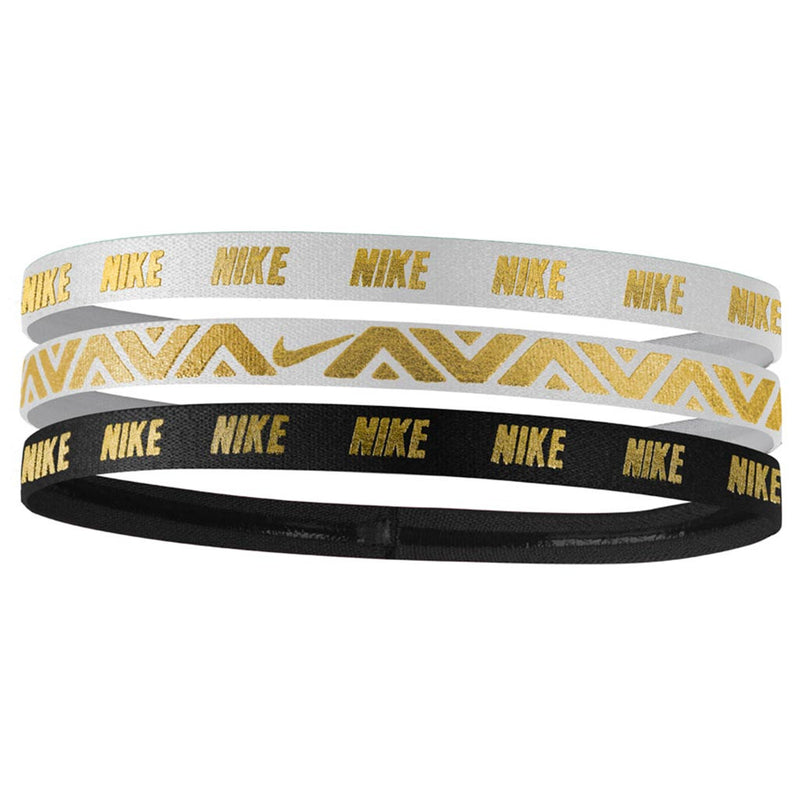 NIKE metallic hairbands 3pk blanc blanc noir