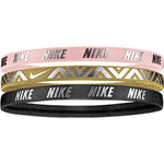 NIKE metallic hairbands 3pk rose or gris