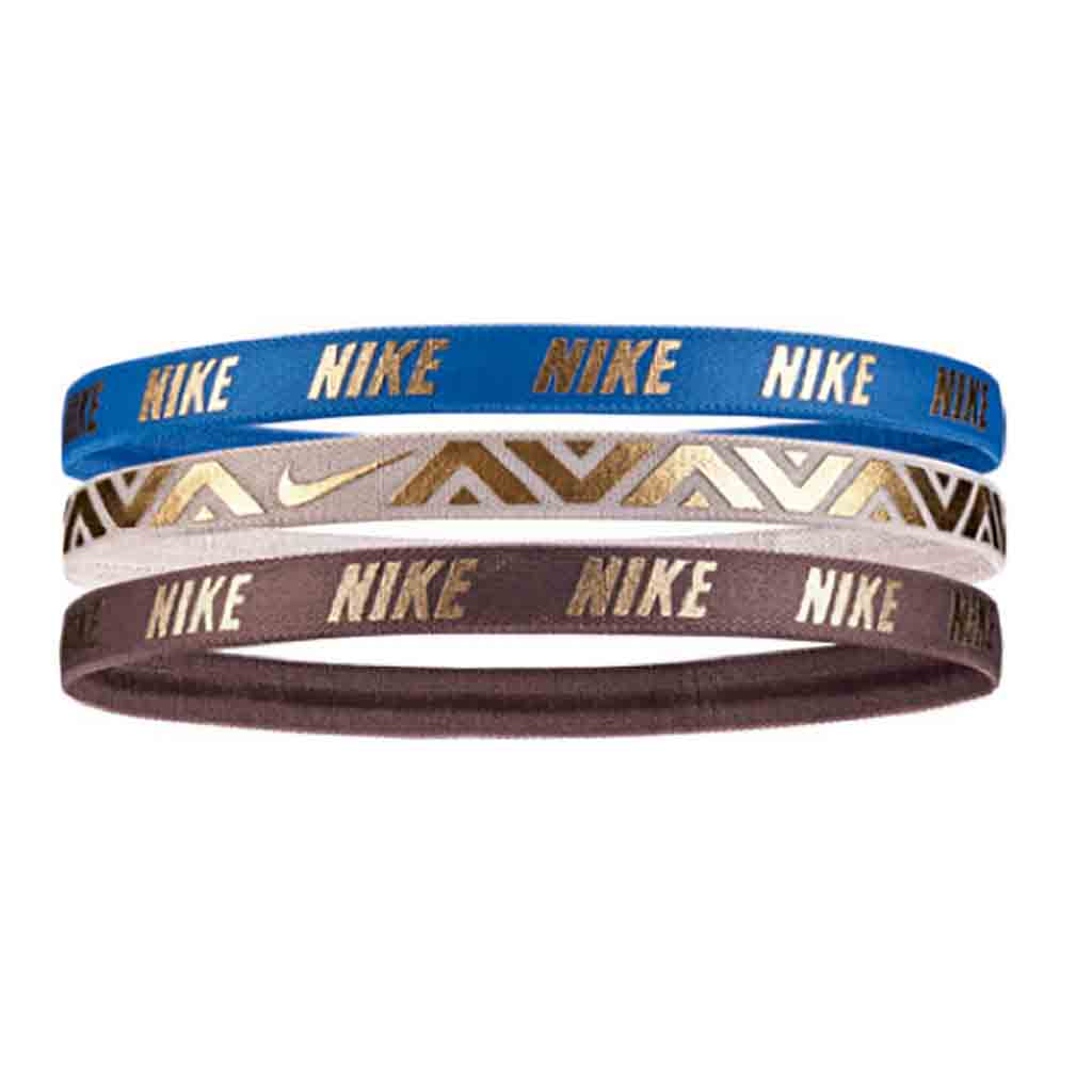 NIKE metallic hairbands 3pk bleu beige marron