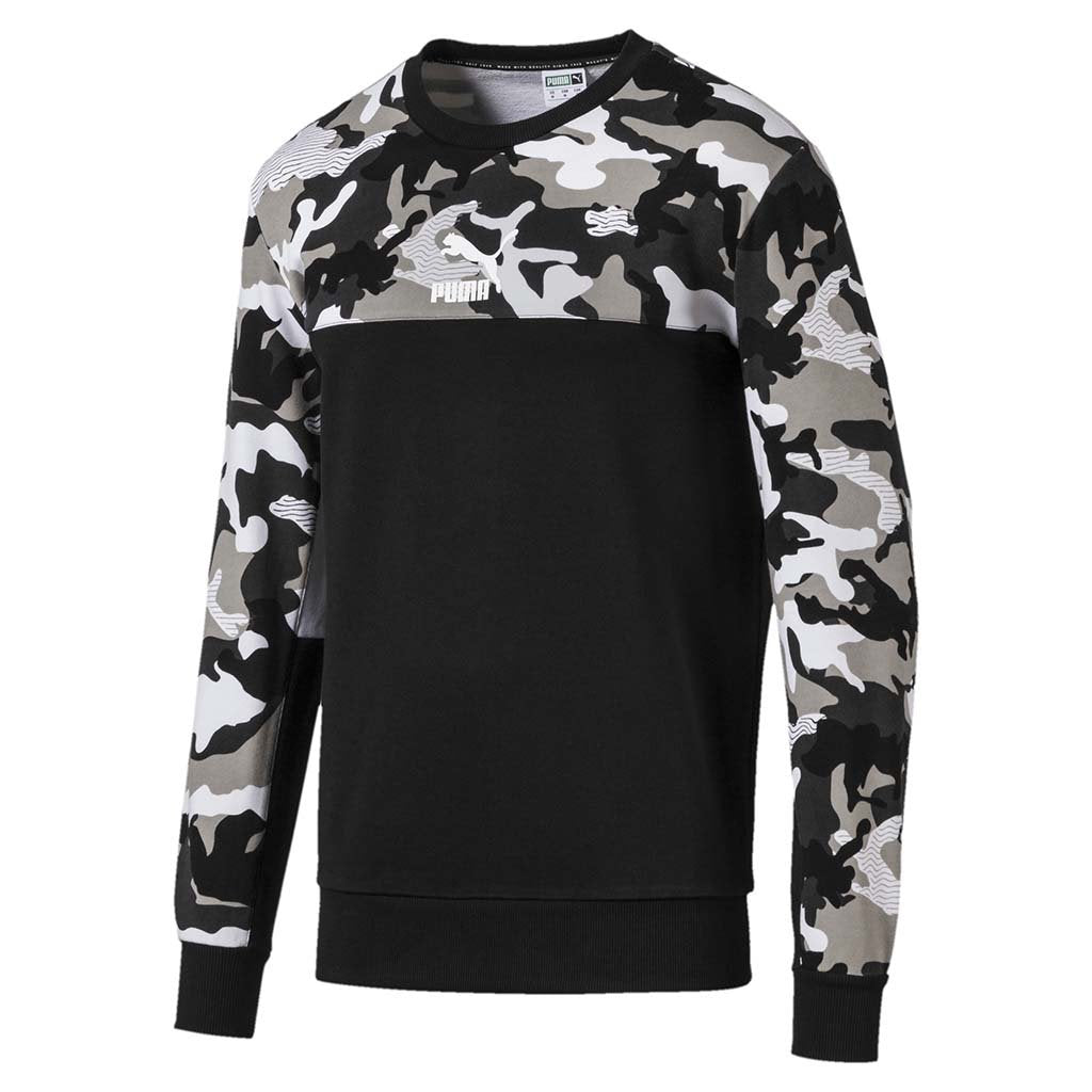 Puma Classics Men's Placement Print Crewneck Sweatshirt black