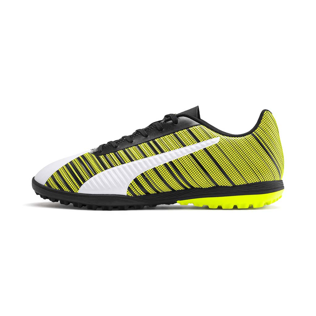 Puma One 5.4 TT chaussure de soccer turf synthetique blanc noir jaune