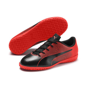 Puma Spirit II junior interior soccer shoes black red pair