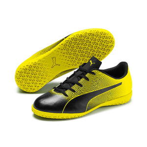 Puma Spirit II junior interior soccer shoes black yellow pair