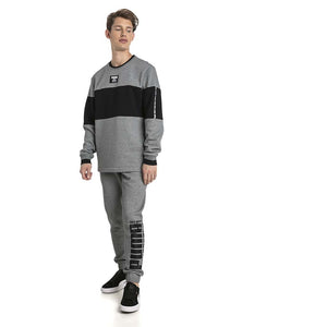 Chandail en molleton Puma Rebel Block Fleece gris pour homme lv3