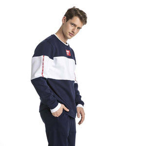 Chandail en molleton Puma Rebel Block Fleece bleu pour homme lv1