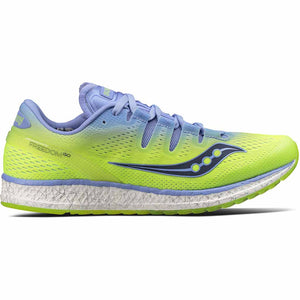 Chaussure de course a pied femme Saucony Freedom Iso purple citron Soccer Sport Fitness