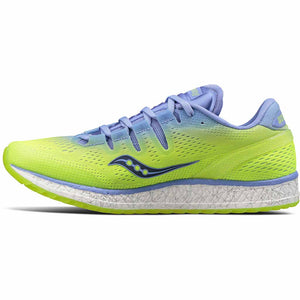 Chaussure de course a pied femme Saucony Freedom Iso purple citron vue laterale Soccer Sport Fitness