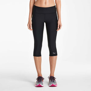 Saucony Bullet women's running capri tights black