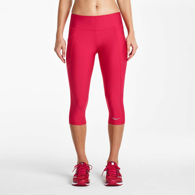 Saucony Bullet women's running capri tights framboise