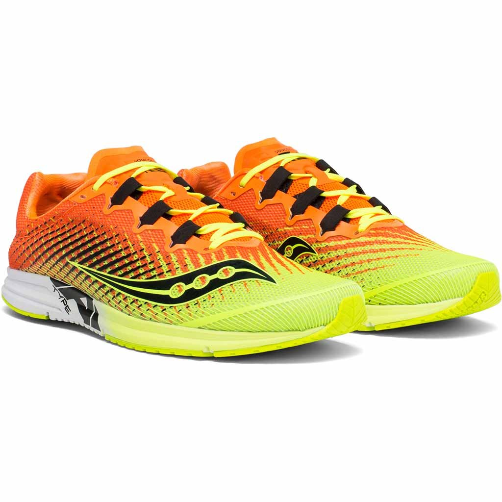 Saucony type A9 souliers de course citron orange homme paire