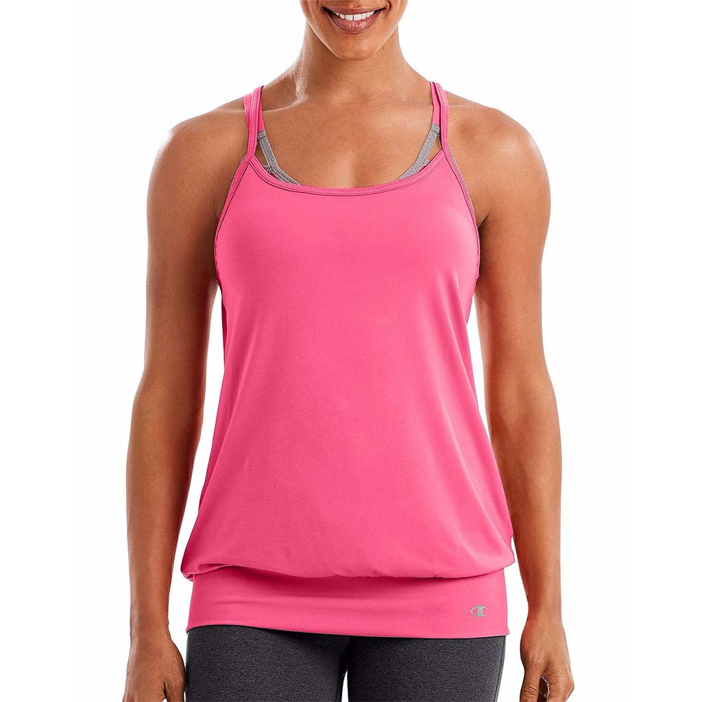 Camisole sport femme Champion Mesh Strappy Tank rose vue avant Soccer Sport Fitness