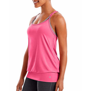 Camisole sport femme Champion Mesh Strappy Tank rose vue latérale Soccer Sport Fitness