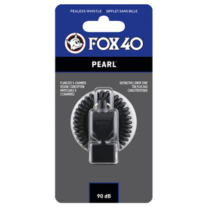 Sifflet d'arbitre avec attache Flex-Coil Fox 40 Pearl Safety noir
