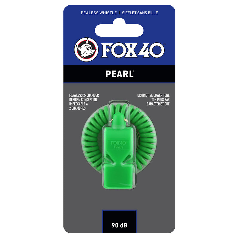 Sifflet d'arbitre avec attache Flex-Coil Fox 40 Pearl Safety vert